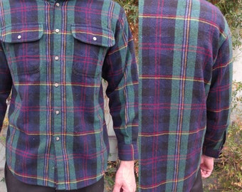 Men's Plaid Button Down shirt, Vintage 70's plaid Flannel