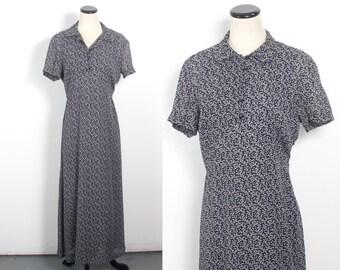 VTG 90's Grunge Floral Maxi Dress (Medium) Empire Waist Shirt Dress Short Sleeves Button Up Shirtwaist Black & White Sheer