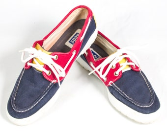 VTG 90's 4th of July Boat Shoes size 8 Womens Red White Blue Yellow Lace Up Flats Sneakers Deck Shoes Tennis Shoes Keds
