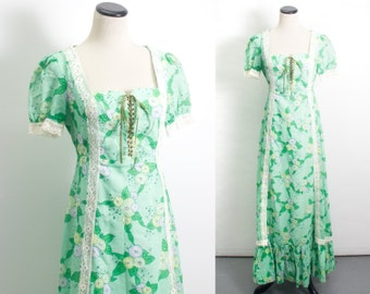 VTG 60's Morning Glories Maxi Dress (Small / Medium) Floral Peasant Corset Bodice Short Sleeve Hippie Bohemian Lace Up Long Skirt