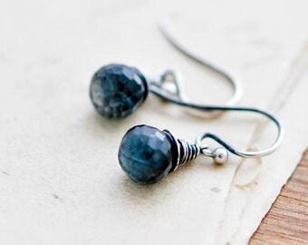 Drop Earrings, Gemstone Earrings, Aquamarine Earrings, March Birthstone, Birthstone Earrings, Moss Aquamarine, Sterling Silver, PoleStar
