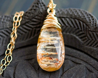 Imperial Topaz Necklace, Topaz Necklace, Imperial Topaz, Golden, Rust, Wire Wrapped, Threads, Gold, PoleStar, Gemstone