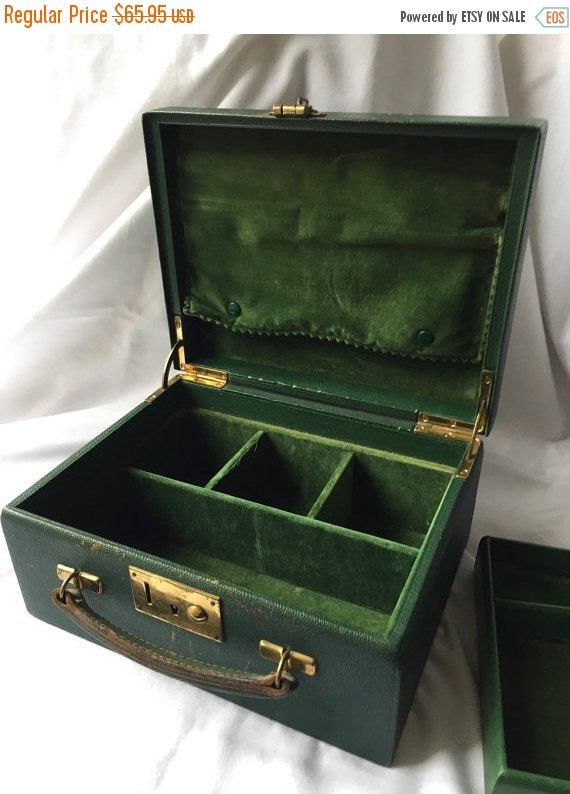 vintage green velvet jewellery box jewelry casket leather