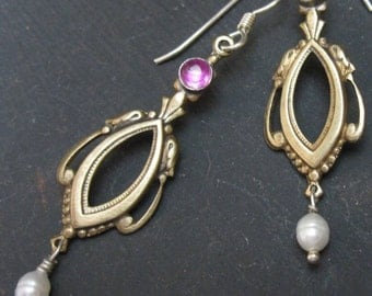SALE dangle earrings in brass and silver with pink accents - feminine earrings- pretty dangles