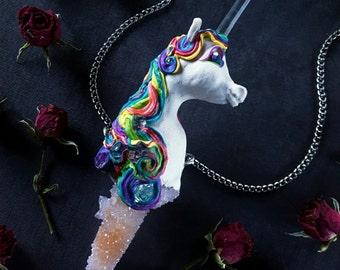 Unicorn Necklace - Spirit Quartz Unicorn and Clear Quartz Horn - Large Rainbow Unicorn Pendant Wand - Crystal Unicorn - Rainbow Lovebeam