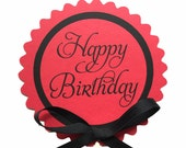 Happy Birthday Cake Topper Decoration, Candy Pick, Red and Black READY TO SHIP