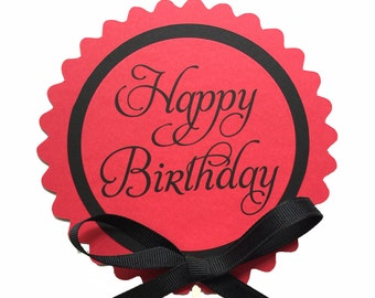 Happy Birthday Cake Topper Decoration, Candy Pick, Red and Black or Your Choice of Colors