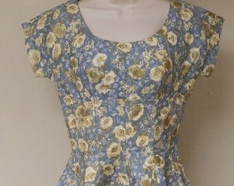 Vintage home made full skirt party dress gold metallic over blue floral