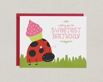 Birthday Card | Ladybug | Cupcake | Greeting Card