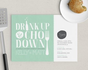 Drink Up Chow Down Couples Shower Invitation
