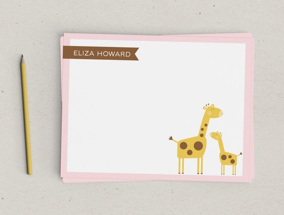 Baby Giraffe Personalized Thank You Notes