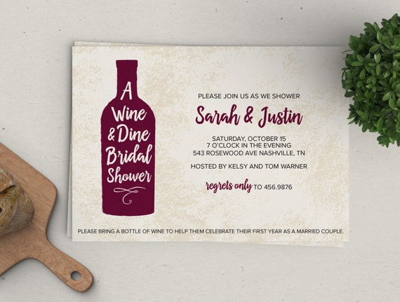 Wine & Dine Shower Invitation