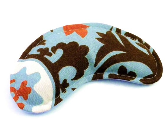 Eye Pillow Comfort Pack, rice flax seed pillow, Contoured Hot Cold Pack for Puffy Eyes, Cold Compress, Heat Cold Pad, blue brown