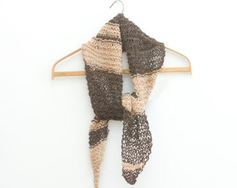 Hand Knit Scarf,  Womans Scarf,  Brown Beige Scarf, Ready to Ship, Small Scarf, Spring Scarf