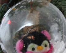 Needle felted Penguin Ornament Penguin Snow Globe, Penguin ornie 4 inch # 1047
