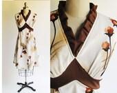 Empire Floral Sun Dress / Vintage 1970s Dress / Brown Accent Mad Men Vintage 70s Retro Style Dress / Medium size 8, size 10
