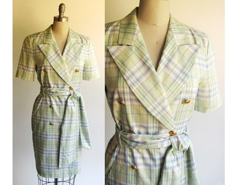 SALE..ESCADA Dress / Vintage 90s Couture Dress / Pastel Green Plaid Cotton / Trench Coat Style Dress / Small Size 6