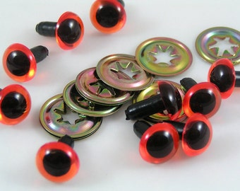 12mm Toy Safety eyes, Amber animal eyes with washers available in packs of 10, 50 or 100 eyes and washers
