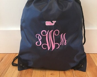 SALE - Preppy Whale Personalized Bag Drawstring Backpack - monogram- embroidered