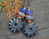 African Abstract, Lampwork Beads, Lapis and Black African Metal Bead Earrings