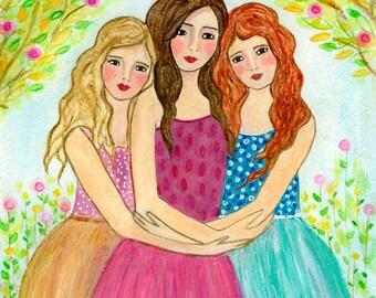Brown Blonde Red Hair Sisters - Three Sisters Art Print  - Three Best Friends Gift for Sister Best friend
