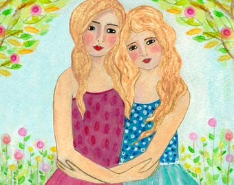 Sisters Art Print  - Best Friends - Two Blonde Sisters Blonde Hair Sisters Best friends - Best Friend Sister Gift