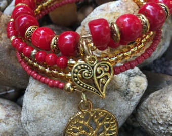 Red & Gold Memory Wire Bracelet