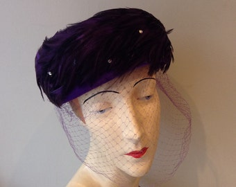 Vintage 1960s Purple Feather Hat by Henry G Ross ~ Vintage 60's Purple Pillbox Hat With Veil and Feathers