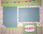 Happy Birthday 12 x 12 premade scrapbook layout - Birthday Party