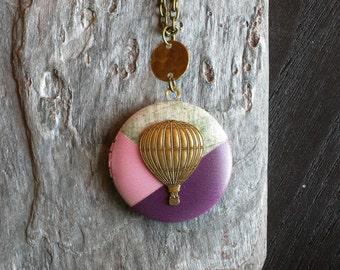 Hot air balloon locket necklace, antique brass locket, locket necklace, long necklace, purple locket