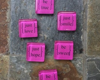just be. square glass magnet set (hot pink)