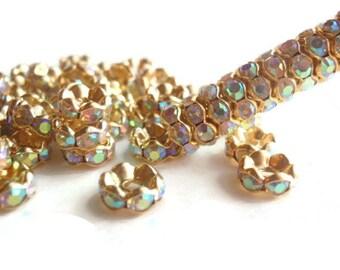 12 Aurora Borealis Rhinestone Spacer Beads, Jewelry making Bead Supply, Graded A, Gold Plated Brass , 8 mm Diameter