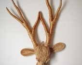 Braided Jute Deer Head Wall Hanging