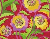 Free Spirit Fabrics Jane Sassaman Early Birds Prairie Poppy in Strawberry - Half Yard