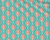 Moda Fabrics Birds & Berries Floral Diamonds in Aqua - Half Yard