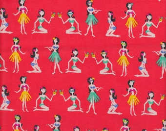 Timeless Treasures Mini Hula Girls on Red - Half Yard