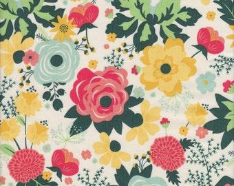 Riley Blake Fancy & Fabulous Main Floral in Cream - Half Yard