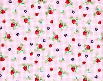 Riley Blake Vintage Market Strawberries in Pink - Half Yard