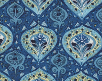 In The Beginning Fabrics A Garden For Olivia Flower Ogee in Blue -  Half Yard