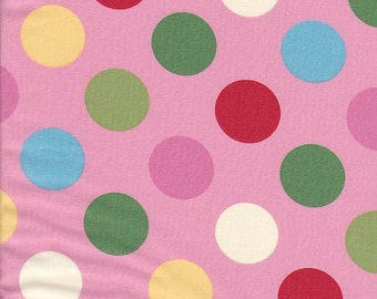 SALE - In The Beginning Fabrics Home To Roost Big Dots in Pink - End of Bolt - Last 35 Inches