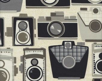 Michael Miller Mod Guys Cameras in Neutral - Half Yard
