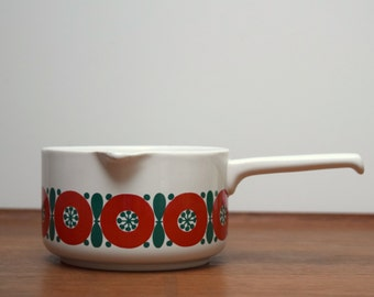 Melitta Germany Gravy or Sauce Bowl, Red and Green Flowers, Ceramic with Spout and Handle