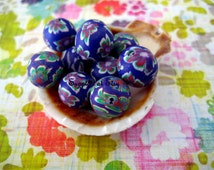 Sale red white green purple Floral Organic Polymer Clay Beads Round  beads 10mm-Fancy handmade Floral beads- white oink blue colors