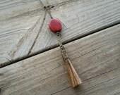 horse hair & red wood pendant // nickel free jewelry // horse hair jewelry // unique handmade jewelry // HEY166