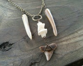 shark tooth, shell, stone pendant necklace // nickel free jewelry // shark tooth necklace // unique handmade jewelry // HEY188