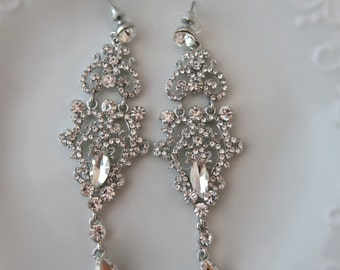Wedding Earrings Silver Bridal Earrings Wedding Jewelry Swarovski  crystals Vintage Wedding Earrings
