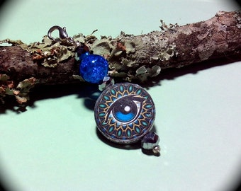 Beautiful Eye Zipper Pull Key Chain Fob handmade mythical fantasy Native Southwestern Tribal ethnic Boho Gypsy
