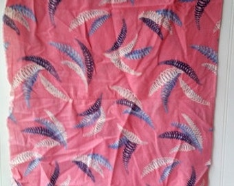 Nice Vintage feedsack floursack fabric full feed sack flour sack  bubblegum pink with blue white navy pattern N2