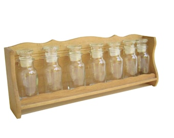 Vintage Spice Glass Bottle Rack-Shelves-Wood-Seasonings