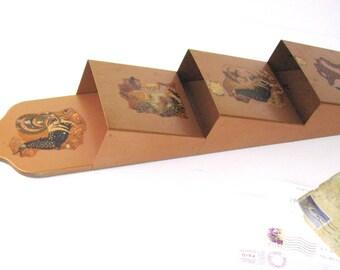 Vintage...Copper-Metal -3 Pocket - Letter- Bill - Organizer